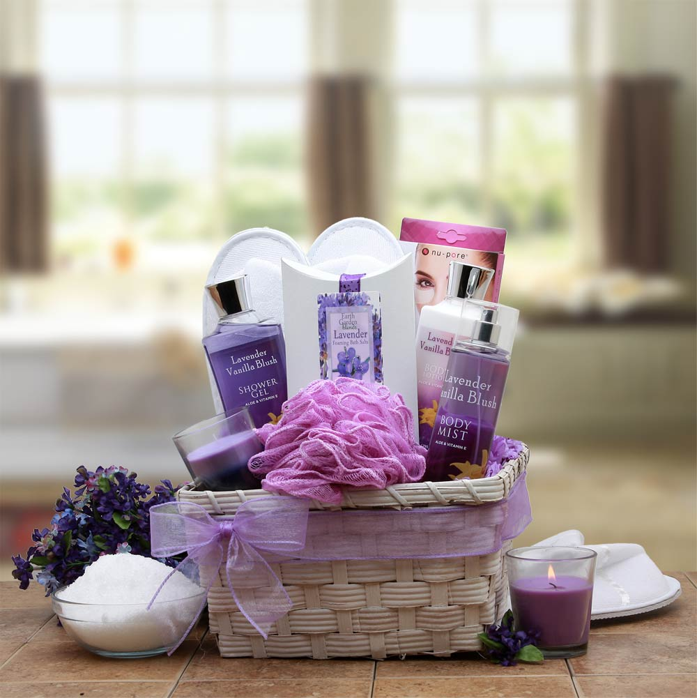 Home Spa Gift Baskets Lavender Basket