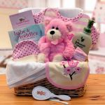Organic New Baby Basics Gift Baskets - Pink