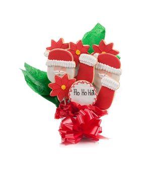 HoHoHo Jolly Santa Cookie Bouquet 9 Pc